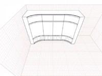 Комбинированный вогнутый продольный шкаф купе 2